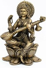 Dekoration Wohnung Modern Geschenke Für Verliebte Saraswati Statue Hindu-Göttin Messing 15,88 cm x 23,5 cm x 13,97 cm