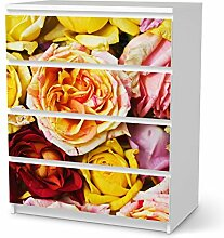 Dekorationsaufkleber für IKEA Malm 4 Schubladen | Deko Möbel-Folie Sticker Möbel-Folie | Inneneinrichtung verschönern Do it yourself | Design Motiv Yellow Rose