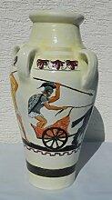 Dekorationsfigur Amphore H 56 cm Einzelstück handbemalt mit hellenischen Motiven Kunstharz