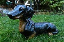 Dekorationsfigur Hund Dackel H 24 cm Dekofigur aus Kunstharz