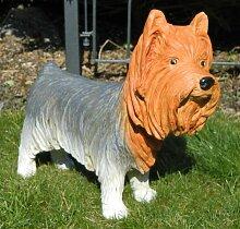 Dekorationsfigur Hund Yorkshire Terrier H 34 cm Dekofigur aus Kunstharz