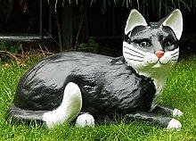 Dekorationsfigur Katze liegend H 20 cm Tierfigur aus Kunstharz
