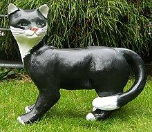 Dekorationsfigur Katze stehend H 39 cm Tierfigur aus Kunstharz