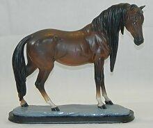 Dekorationsfigur Pferd H 39 cm dunkel braun Dekofigur aus Kunstharz