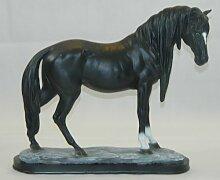 Dekorationsfigur Pferd H 39 cm schwarz Dekofigur aus Kunstharz