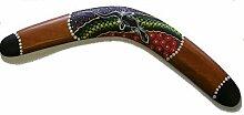 Dekorativ Aborigines Stil Punkte Bemalte Holz Boomerang - 40 cm - Fair Trade