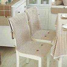 Dekorative Baumwolle Kissen Hochlehner dünn Hohe Rückenlehne Sitz Kissen Rutschfest Stuhl mit Befestigungsbändern Taschen für Küche Esszimmerstuhl 2-er Set Kaffee, baumwolle, Coffee Background, Einheitsgröße