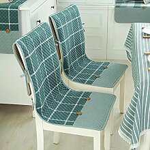 Dekorative Baumwolle Kissen Hochlehner dünn Hohe Rückenlehne Sitz Kissen Rutschfest Stuhl mit Befestigungsbändern Taschen für Küche Esszimmerstuhl 2-er Set, baumwolle, Full Green Plaid, Einheitsgröße