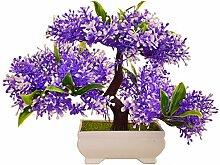 Dekorative Blumen Simulation künstliche blumen Künstliche Pflanze Blume Baum Grün Topf Wohnzimmer Tisch Dekoration Lucky Feng Shui deko (3 Farbe) , purple