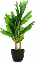 Dekorative Brotbaum-Blätter im Topf mit täuschend echter Blumenerde - Kunstblume Pflanze