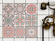 Dekorative Fliesenaufkleber   Fliesendekor für Bad u. Küchenfliesen - selbstklebende Fliesensticker   Wanddeko - rückstandslos ablösbar  10x10 cm - Motiv Mexican Tiles - 18 Stück