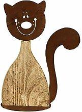 Dekorative Garten Katze aus Rost und Holz - 30x40 cm