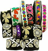 dekorative gestickte Zier Sari schreitenden