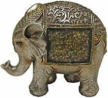 Dekorative Gold & Silber Crackle Elefant Figur-Home Dekoration Parent, metall, gold, 14x14x8 cm