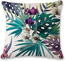 Dekorative Kissen, grüne Pflanzen, Baumwolle