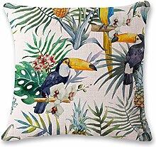 Dekorative kissen, grüne pflanzen vogel,