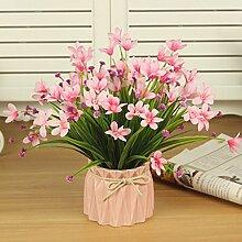 Dekorative Künstliche Blumen Farbe Keramik Vase Orchidee Rosa Braut Zubehör Kunst Handwerk Haus Garten Dekoration -XHOPOS HOME