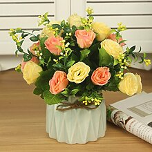 Dekorative künstliche Blumen Farbe Keramik Vase Rose Rosa Braut Zubehör Kunst Handwerk Haus Garten Dekoration -XHOPOS HOME