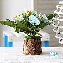 Dekorative Künstliche Blumen Grüne Pflanzen Blaue Rose Braut Zubehör Kunst Handwerk Haus Garten Dekoration -XHOPOS HOME