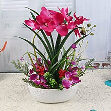 Dekorative Künstliche Blumen Orchidee Keramik Vase Rot Braut Zubehör Kunst Handwerk Haus Garten Dekoration -XHOPOS HOME