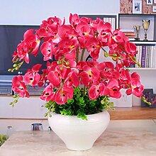 Dekorative Künstliche Blumen Orchidee Rote Braut Zubehör Haus Wohnzimmer Schlafzimmer Esstisch Garten Dekoration -XHOPOS HOME