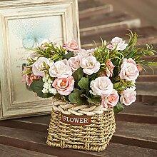 Dekorative Künstliche Blumen Stroh Blumen Körbe Rose Rosa Braut Zubehör Kunst Handwerk Haus Garten Dekoration -XHOPOS HOME