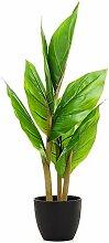 Dekorative Kunstblume Blumenrohr im Topf - Kunstpflanze grün Blätter