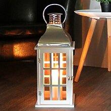 Dekorative Laterne 20x20xH47cm mit Henkel Windlicht Gartenlaterne Holzlaterne Kerzenhalter Gartenbeleuchtung Dekoration - Weiß/Silber