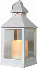 Dekorative Laterne weiß mit LED Kerze reale Flammenwirkung Batteriebetrieb Windlich