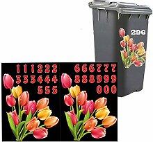 Dekorative Mülltonnen Aufkleber / Mülleimer Sticker / Aufkleber Set für Mülltonne inkl. Zahlen, verschiedene Designs (Bunt - Tulpen)