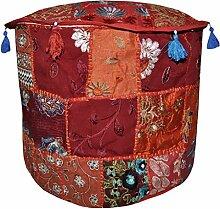 Dekorative Patchwork bestickt Design handgefertigt Ottoman, 45x 45x