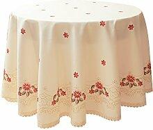 Dekorative rote Tischdecke mit Blumenmuster,