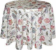 dekorative TISCHDECKE rund 170 cm Tischtuch Tafeltuch pflegeleicht champagner BLÜTEN bunt SOMMER Allzeit Tafeltuch (Tischdecke rund 170 cm)