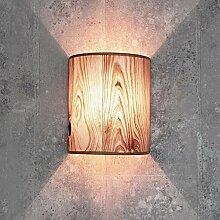 Dekorative Wandlampe Stoff in Holz Optik halbrund