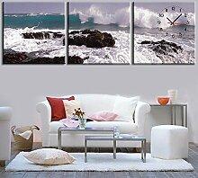 dekorativen wandmalereien wanduhr rahmenlose dekoriert küste landschaft leinwand gemalt wanduhr , 40*40cm