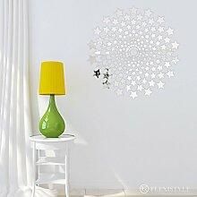 Dekorativer Spiegel Avenue of Stars, modernes Design Dekoration, 3mm Acryl-Spiegel aus der EU, Wohnzimmer, Schlafzimmer, Flur, unzerbrechlich, DIY-Heimtextilien, Silber, hergestellt in der EU