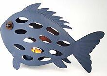 dekorativer Teelichthalter Metall - Windlicht Fisch 28 x 17 cm - blau