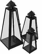 Dekoratives 3tlg. Laternen-Set H54/40/30cm mit Henkel Metallgestell mit Glasfenstern Laterne Windlicht Gartenlaterne Kerzenhalter Gartenbeleuchtung Dekoration