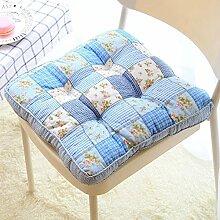 Dekoratives Blumenmuster Stuhl Pads Cute Tatami Sitzkissen mit Befestigungsbändern, Soft Baumwolle Stuhl Auflage für Home Office 40x 40cm, baumwolle, blau, Einheitsgröße