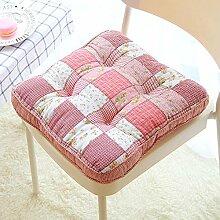 Dekoratives Blumenmuster Stuhl Pads Cute Tatami Sitzkissen mit Befestigungsbändern, Soft Baumwolle Stuhl Auflage für Home Office 40x 40cm, baumwolle, rot, Einheitsgröße