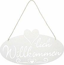 dekoratives Metall-Schild weiß Willkommen