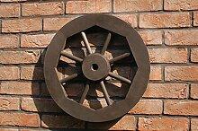 Dekoratives Wagenrad 48 cm, rustikal, Holz, Dunkelbraun