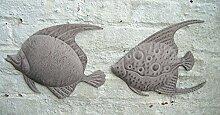 Dekoratives Wandobjekt, 2 Fische, Wanddekoration, Eisen, Handarbei