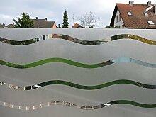 Dekorfolie statische Fensterfolie Wave Wellen - Sichtschutz , Bitte Größe wählen:0.45m x 1.10 m