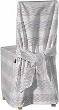 Dekoria Bertil Stuhlhusse mit Bändern Husse Stuhlbezug Stuhlkissen passend für Ikea Modell Bertil rosa-grau