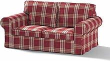 Dekoria Bezug für Ikea Ektorp Sofa (Zweisitzer), feuerhemmend, karierter Schottenstoff, Burgunderro