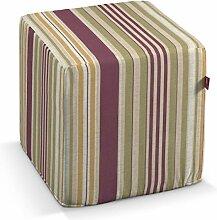 Dekoria Harter Sitzwürfel 40 x 40 x 40 cm olive-violett-beige