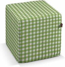 Dekoria Harter Sitzwürfel 40 x 40 x 40 cm weiss-grün karier