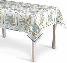 Dekoria Rechteckige Tischdecke 130x250 cm Tischdekoration ecru- blau