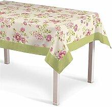Dekoria Tischdecke English Garden mit Bordüre 130x130 cm Tischdekoration creme-rosa